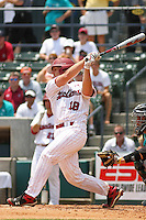 University of South Carolina Gamecocks catcher Kyle Enders #18 at bat during the 2nd and deciding game of the NCAA Super Regional vs. the University of Coastal Carolina Chanticleers on June 13, 2010 at BB&T Coastal Field in Myrtle Beach, SC.  The Gamecocks defeated Coastal Carolina 10-9 to advance to the 2010 NCAA College World Series in Omaha, Nebraska. Photo By Robert Gurganus/Four Seam Images