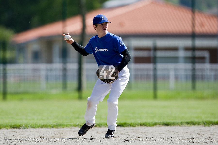 30 April 2008: Guillaume Lafeuille of France takes infield practice during the first of seven 2008 MLB European Academy Try-out Sessions throughout Europe, at Stade Kandy Nelson Ball Park, in Toulouse, France. Try-out sessions are run by members of the Major League Baseball Scouting Bureau with assistance from MLBI staff.