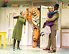 The Tiger Who Came To Tea<br /> by  Judith Kerr<br /> at the Vaudeville Theatre, London, Great Britain <br /> Press photocall<br /> 6th July 2011 <br /> <br /> Alan Atkins (as Tiger / Daddy)<br /> Jenanne Redman (as Mummy)<br /> Abbey Norman (as Sophie)<br /> <br /> Photograph by Elliott Franks
