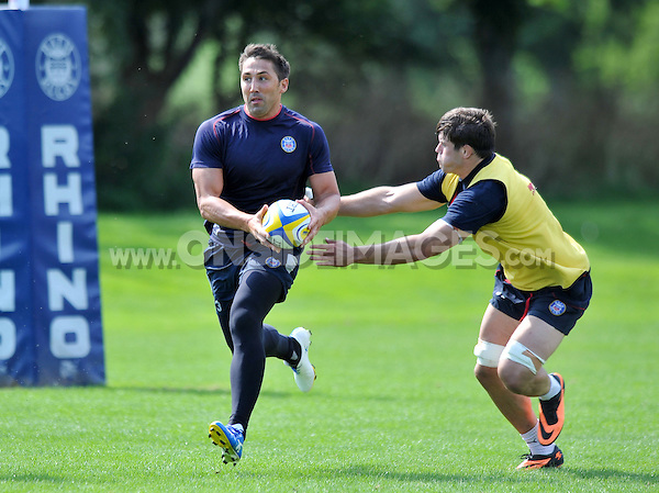 Gavin Henson with the ball. Bath Rugby training session on August 27, 2013 at Farleigh House in Bath, England. Photo by: Patrick Khachfe/Onside Images