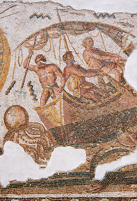 Detail from the Roman mosaic depicting Dionysus repelling pirates from his ship.  Inv 2884B Bardo Museum, Tunis, Tunisia.