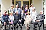 CELEBRATION: Treble celebrations in The Ballygarry House Hotel & Spa Tralee on Sunday as Patrick Flaherty celebrated his retirement, Brendan and Noreen Murphy celebrated their 50th wedding Anniversary and JP Whelan celebrated his 70th birthday. FRont l-r: Patrick Flaherty, Scoirse Kelly, Brendan Murphy, Thomas Kelly, Noreen Murphy, Aisling Kelly and JP Whelan. Back l-r: Carol and Joe Kelly,Caragh kelly and Norma and Johnny Brosnan.....