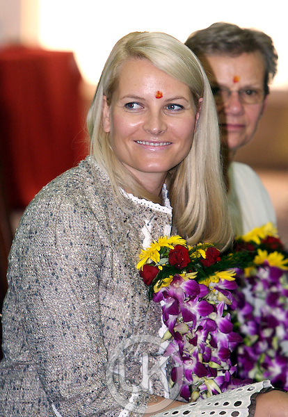 Crown Prince Haakon & Crown Princess Mette-Marit of Norway visit India. Visit to the Indian Institute of Hotel Management in Mumbai.