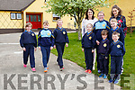 Saoirse Collins, Jamie Curtin and Janeve Browne gets in some training for the upcoming Loughfouder NS 3k and 5k fun run/walk which will start at the school on Saturday 6th May watched by l-r: Millie Fuller, Katelyn Curtin, Daniel Collins, Naeve Tugwell, Daniel Collins Elizabeth Lane Principal and Emer O'Shea teacher