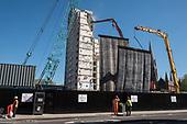 Mobile dust screens. Demolition of  Gloucester House, South Kilburn Estate, London Borough of Brent.