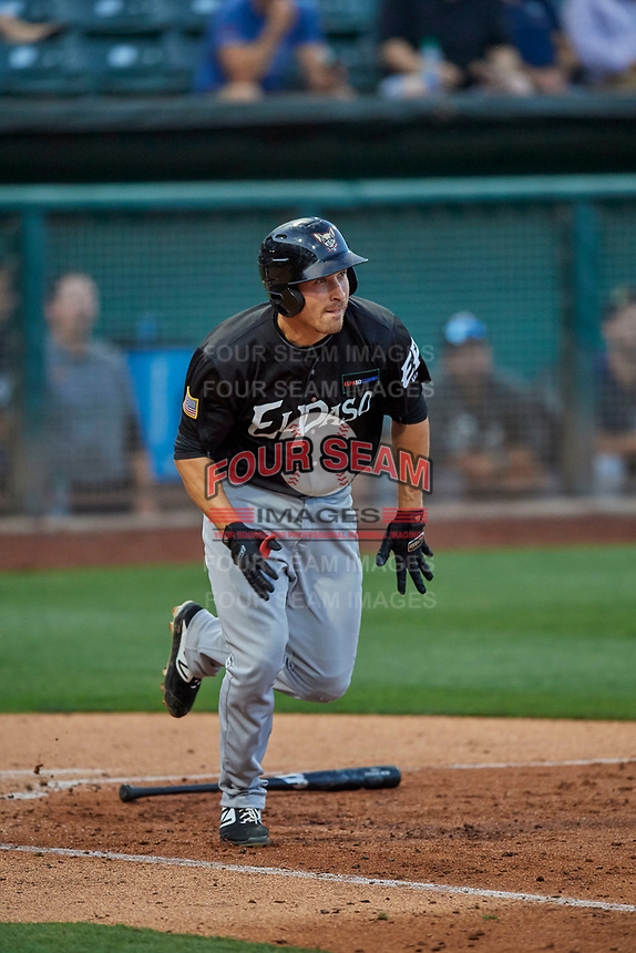Seth Mejias-Brean (17) of the El Paso Chihuahuas runs to first base against the Salt Lake Bees at Smith's Ballpark on August 17, 2019 in Salt Lake City, Utah. The Bees defeated the Chihuahuas 5-4. (Stephen Smith/Four Seam Images)