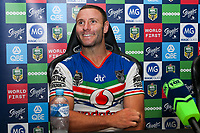 A pleased Blake Green at the post match press conference. Sydney Roosters v Vodafone Warriors, NRL Rugby League. Allianz Stadium, Sydney, Australia. 31st March 2018. Copyright Photo: David Neilson / www.photosport.nz