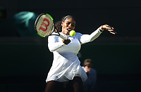 Serena Williams (USA) in action during her first round match against Arantxa Rus (NED)<br /> <br /> Photographer Rob Newell/CameraSport<br /> <br /> Wimbledon Lawn Tennis Championships - Day 1 - Monday 2nd July 2018 -  All England Lawn Tennis and Croquet Club - Wimbledon - London - England<br /> <br /> World Copyright &not;&uml;&not;&copy; 2017 CameraSport. All rights reserved. 43 Linden Ave. Countesthorpe. Leicester. England. LE8 5PG - Tel: +44 (0) 116 277 4147 - admin@camerasport.com - www.camerasport.com