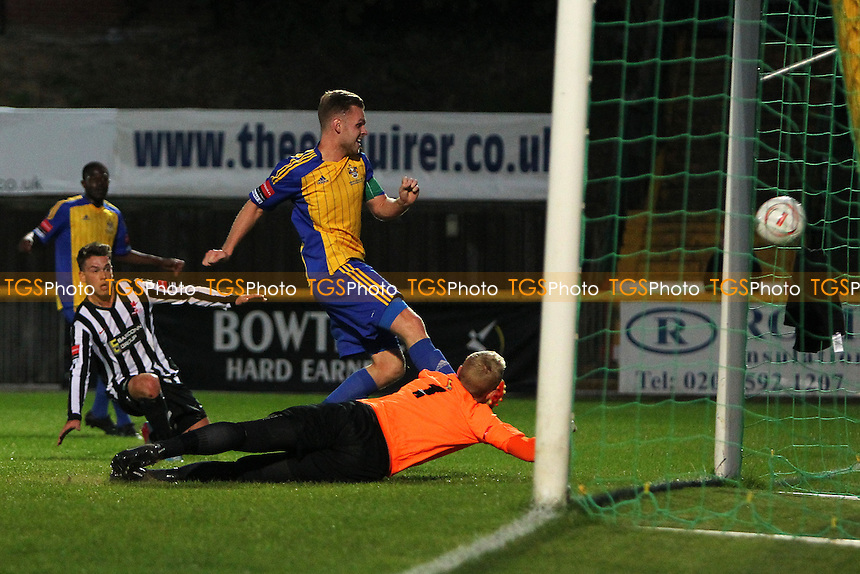 Jack Barry scores the second goal for Romford - Romford vs Dereham Town - Ryman League Divison One North Football at Ship Lane, Thurrock FC, Purfleet, Essex - 20/08/14 - MANDATORY CREDIT: Gavin Ellis/TGSPHOTO - Self billing applies where appropriate - contact@tgsphoto.co.uk - NO UNPAID USE