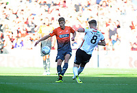 Swansea City's Jay Fulton battles with Sheffield United's Lee Evans during the Sky Bet Championship match between Sheffield United and Swansea City at Bramall Lane, Sheffield, England, UK. Saturday 04 August 2018