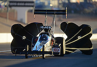Oct. 27, 2012; Las Vegas, NV, USA: NHRA top fuel driver Bob Vandergriff Jr during qualifying for the Big O Tires Nationals at The Strip in Las Vegas. Mandatory Credit: Mark J. Rebilas-