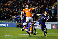 Blackpool's Joe Nuttall tries to direct a cross goalward under pressure from Tranmere Rovers' Peter Clarke and Mark Ellis<br /> <br /> Photographer Alex Dodd/CameraSport<br /> <br /> The EFL Sky Bet League One - Blackpool v Tranmere Rovers - Tuesday 10th March 2020 - Bloomfield Road - Blackpool<br /> <br /> World Copyright © 2020 CameraSport. All rights reserved. 43 Linden Ave. Countesthorpe. Leicester. England. LE8 5PG - Tel: +44 (0) 116 277 4147 - admin@camerasport.com - www.camerasport.com