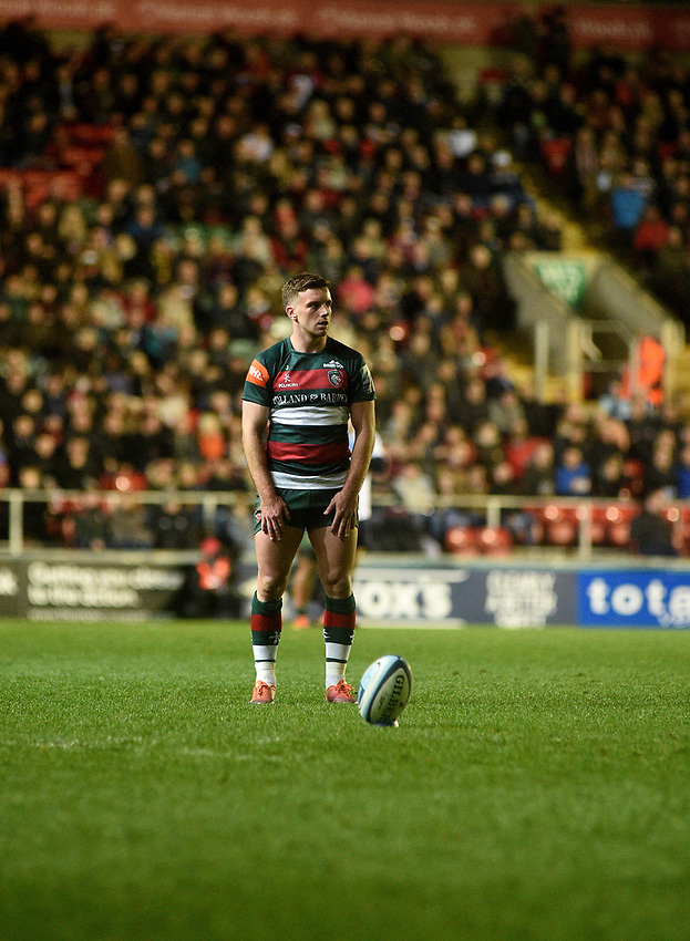 Leicester Tigers' George Ford<br /> <br /> Photographer Hannah Fountain/CameraSport<br /> <br /> Gallagher Premiership - Leicester Tigers v Northampton Saints - Friday 22nd March 2019 - Welford Road - Leicester<br /> <br /> World Copyright © 2019 CameraSport. All rights reserved. 43 Linden Ave. Countesthorpe. Leicester. England. LE8 5PG - Tel: +44 (0) 116 277 4147 - admin@camerasport.com - www.camerasport.com