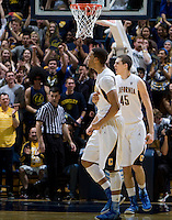 Allen Crabbe of California celebrates with the fans during the game against USC at Haas Pavilion in Berkeley, California on February 17th, 2013.  California defeated USC, 76-68.