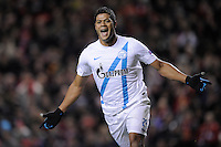 21.02.2013 Liverpool, England. Hulk of Zenit St Petersburg celebrates after scoring the first goal during the Europa League game between Liverpool and Zenit St Petersburg from Anfield.