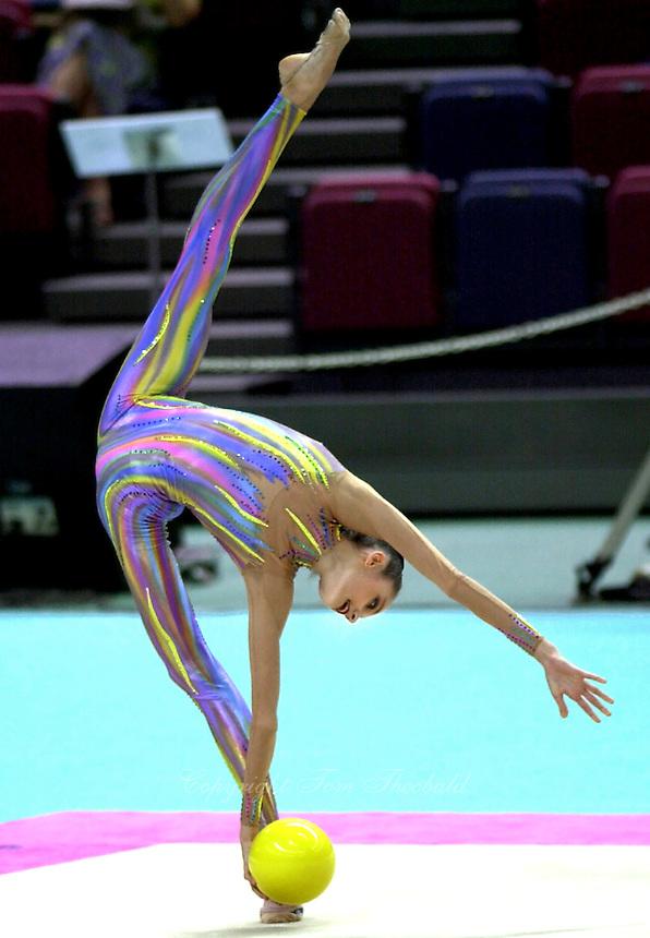 1 OCTOBER 1999 - OSAKA, JAPAN: Anna Bessonova of Ukraine performs with ball at the 1999 Rhythmic World Championships in Osaka, Japan.