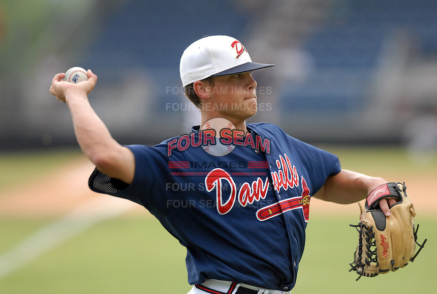 14 July 2006: Pitcher Kris Medlen (17) of the Danville Braves, the Atlanta Braves' affiliate of the rookie Appalachian League, in a game at Dan Daniel Park in Danville, Va. (Tom Priddy/Four Seam Images)