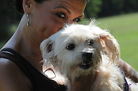 NWA Democrat-Gazette/FLIP PUTTHOFF<br /> EAGER FOR A WALK<br /> Christine Carney, a volunteer at the Rogers Animal Shelter, gets ready to take &quot;Jane&quot; for a walk Tuesday Sept. 8 2015 around the shelter grounds at 2935 W. Oak St. &quot;Jane&quot; is blind, Carney said, but manages fine when it's time for an exercise walk. &quot;Jane&quot; and other dogs and cats will be available for adoption at reduced cost during the &quot;Empty Our Shelters&quot; event Friday and Saturday at most Northwest Arkansas animal shelters, said Bud Norman, manager at the Rogers Animal Shelter. Adoption fee is $10 Friday and Saturday. The reduced fee includes spaying and neutering, Norman said. For details call the shelter at 479-621-1197