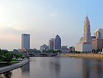 Columbus, Ohio and the Scioto River at sunset.