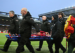 Alex Oxlade-Chamberlain of Liverpool is stretchered off during the Champions League Semi Final 1st Leg match at Anfield Stadium, Liverpool. Picture date: 24th April 2018. Picture credit should read: Simon Bellis/Sportimage