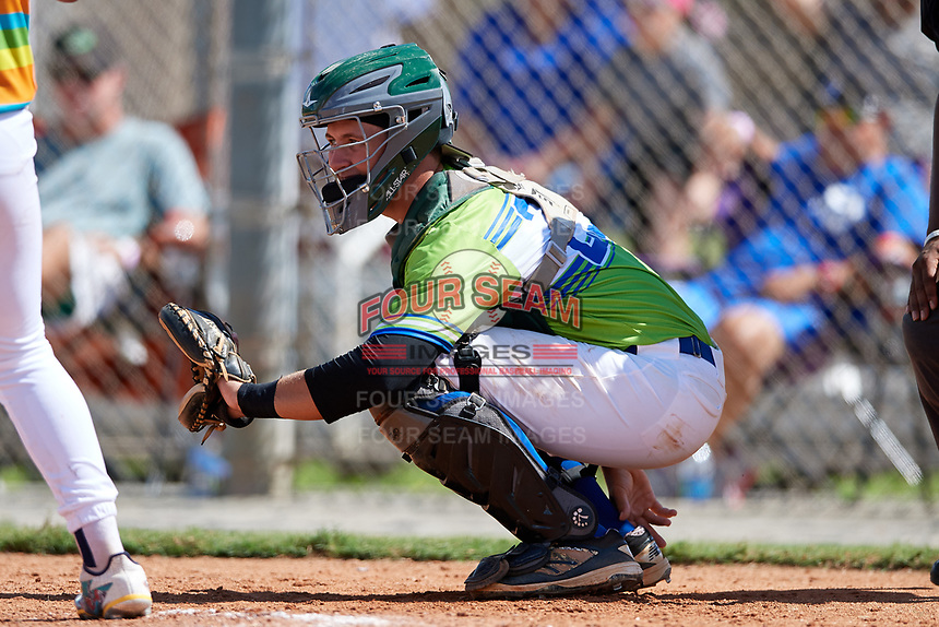 Christian Pregent during the WWBA World Championship at the Roger Dean Complex on October 20, 2018 in Jupiter, Florida.  Christian Pregent is a catcher from Daytona Beach, Florida who attends Atlantic High School and is committed to Stetson.  (Mike Janes/Four Seam Images)