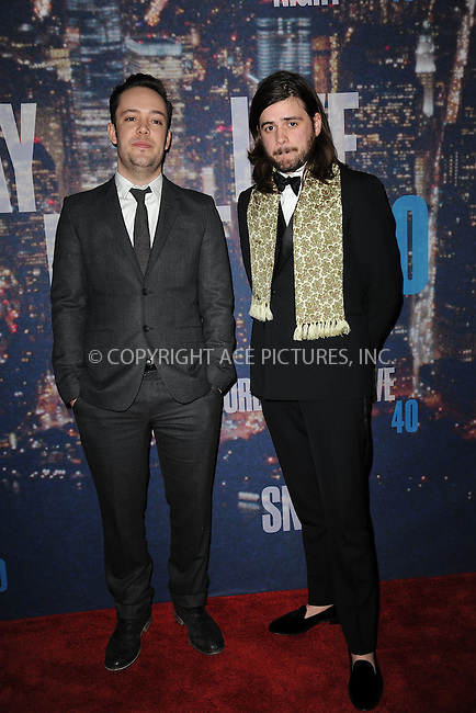 WWW.ACEPIXS.COM<br /> February 15, 2015 New York City<br /> <br /> <br /> Mumford &amp; Sons walking the red carpet at the SNL 40th Anniversary Special at 30 Rockefeller Plaza on February 15, 2015 in New York City.<br /> <br /> Please byline: Kristin Callahan/AcePictures<br /> <br /> ACEPIXS.COM<br /> <br /> Tel: (646) 769 0430<br /> e-mail: info@acepixs.com<br /> web: http://www.acepixs.com