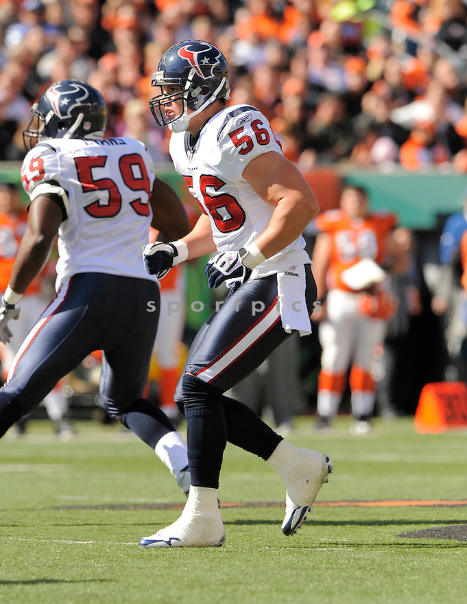 BRIAN CUSHING, of the Houston Texans  in action during the Texans game against Cincinnati Bengals in Cincinnati, OH on October 18, 2009.  The Texans  beat the Rams 28-17..