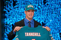 The eighth overall pick quarterback Ryan Tannehill (Texas A&M) of the Miami Dolphins during the first round of the 2012 NFL Draft at Radio City Music Hall in New York, NY, on April 26, 2012.
