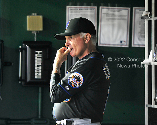 New York Mets manager Terry Collins chews on his thumb as he watches the action in the top of the seventh inning against the Washington Nationals at Nationals Park in Washington, D.C. on Saturday, July 30, 2011.  The Nationals won the game 3 - 0..Credit: Ron Sachs / CNP.(RESTRICTION: NO New York or New Jersey Newspapers or newspapers within a 75 mile radius of New York City)