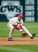NWA Democrat-Gazette/BEN GOFF @NWABENGOFF<br /> Casey Martin, Arkansas shortstop, fields a ground ball to set up a double play to end the top of the 5th inning vs LSU Saturday, May 11, 2019, at Baum-Walker Stadium in Fayetteville.