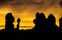 The Balanced Rock in the sunset in Arches National Park in Utah, USA.