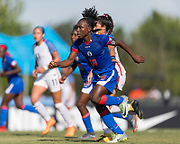 Bradenton, FL - Sunday, June 10, 2018: Melchie Dumonay during a U-17 Women's Championship match between the United States and Haiti at IMG Academy.  USA defeated Haiti 3-2 to advance to the finals.