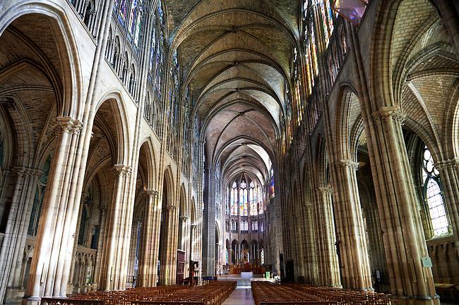The naive of the Gothic Cathedral Basilica of Saint Denis ( Basilique Saint-Denis ) Paris, France. A UNESCO World Heritage Site.