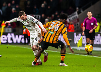Hull City's defender Ola Aina (34) stops Sheffield United's midfielder John Fleck (4) during the Sky Bet Championship match between Hull City and Sheff United at the KC Stadium, Kingston upon Hull, England on 23 February 2018. Photo by Stephen Buckley / PRiME Media Images.