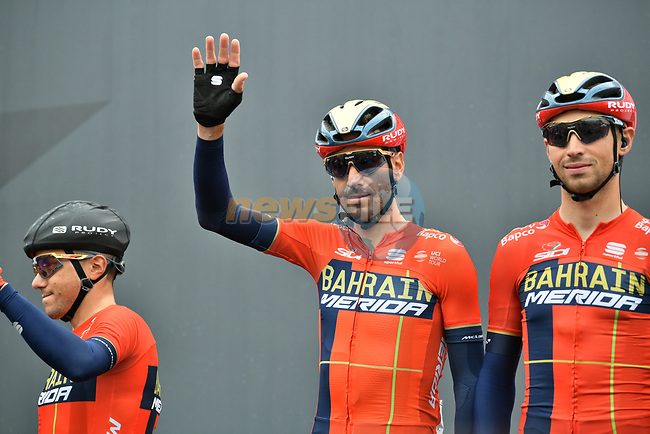 Vincenzo Nibali (ITA) and Bahrain-Merida at sign on before Stage 16 of the 2019 Giro d'Italia, running 194km from Lovere to Ponte di Legno, Italy. 28th May 2019<br /> Picture: Massimo Paolone/LaPresse | Cyclefile<br /> <br /> All photos usage must carry mandatory copyright credit (© Cyclefile | Massimo Paolone/LaPresse)