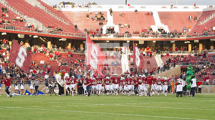 STANFORD, CA - April 14, 2012: Stanford team running out on the field prior to the Stanford Cardinal vs San Jose St. game at Stanford Stadium at Sanford, CA. Final score Stanford 20, San Jose St. 17..
