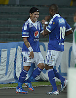 BOGOTÁ -COLOMBIA, 02-10-2013. Dayro Moreno (I) and Wason Renteria (D) de Millonarios celebran un gol en contra del Quindio durante partido válido por la fecha 13 de la Liga Postobón 2013-1 jugado en el estadio el Campín de la ciudad de Bogotá./ Dayro Moreno (L) of Millonarios celebrates a goal  against Quindio during match valid for the 13th date of the Postobon League II 2013 played at El Campin stadium in Bogotá city. Photo: VizzorImage/Gabriel Aponte/STR