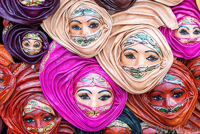 Colourful leather masks in the market of the town of Sidi Bou Said in Tunisia.