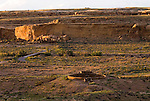 Great Kiva at Casa Rinconada; Pueblo Bonito ruins; Pueblo Alto on horizon..Chaco Culture National Historical Park
