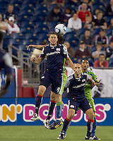 New England Revolution midfielder Chris Tierney (8) receives a throw in. The New England Revolution defeated the Seattle Sounders FC, 3-1, at Gillette Stadium on September 4, 2010.