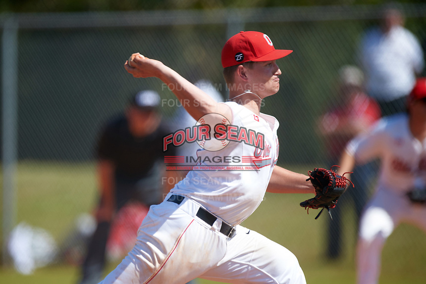 Ohio State Buckeyes relief pitcher Seth Kinker (37) delivers a pitch during a game against the Seton Hall Pirates on March 4, 2016 at North Charlotte Regional Park in Port Charlotte, Florida.  Ohio State defeated Seton Hall 9-3.  (Mike Janes/Four Seam Images)