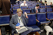 Reporters including Glenn Thrush, chief White House political correspondent for the The New York Times, left, sit in the James S. Brady Press Briefing Room of the White House after being excluded from the meeting  on February 24, 2017 in Washington, DC. CNN, the New York Times and other news organizations were blocked Friday from a White House press briefing.<br /> Credit: Olivier Douliery / Pool via CNPP
