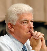 """Washington, D.C. - September 23, 2008 -- United States Senator Christopher Dodd (Democrat of Connecticut), Chairman, United States Senate Committee on Banking, Housing and Urban Affairs listens to testimony during the hearing on """"Turmoil in US Credit Markets: Recent Actions Regarding Government Sponsored Entities, Investment Banks and Other Financial Institutions"""" in Washington, D.C. on Tuesday, September 23, 2008.  The hearing focused on the United States Government's proposed 700 billion U.S. dollar bail-out of the banking system caused by poor lending practices of U.S. banks.<br /> Credit: Ron Sachs / CNP"""