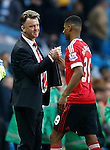 Louis van Gaal manager of Manchester United congratulates match winner Marcus Rashford of Manchester United during the Barclays Premier League match at The Etihad Stadium. Photo credit should read: Simon Bellis/Sportimage