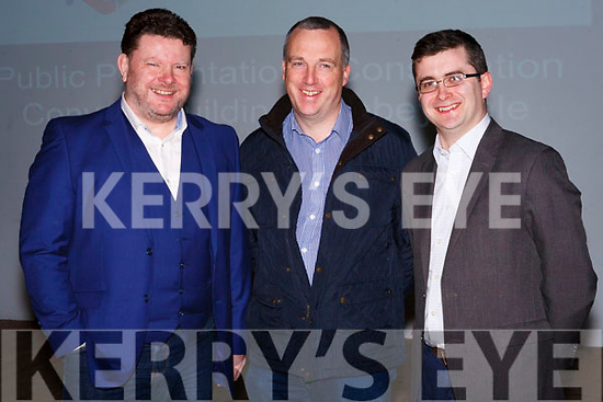 Praise for Research on Potential Multi-Million Euro Abbeyfeale Project, from left: Maurice O' Connell Chairperson , Kevin Kenneally Architect/Engineer, Trevor McCarthy Secretary.
