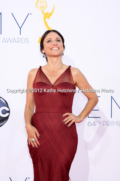 LOS ANGELES - SEP 23:  Julia Louis-Dreyfus arrives at the 2012 Emmy Awards at Nokia Theater on September 23, 2012 in Los Angeles, CA