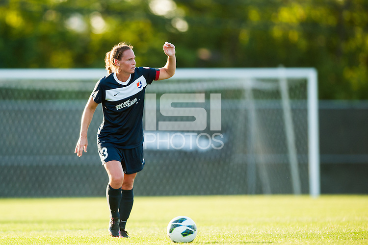 Sky Blue FC defender Christie Rampone (3) takes a free kick. Sky Blue FC defeated the Washington Spirit 1-0 during a National Women's Soccer League (NWSL) match at Yurcak Field in Piscataway, NJ, on July 6, 2013.