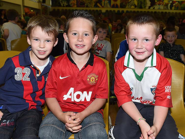 Ryan Macken, Darragh Murphy and Thómas Devlin pictured at Ardee Celtic underage awards night in Ardee Parish Centre. Photo:Colin Bell/pressphotos.ie