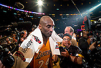 13.04.2016. Los Angeles, California, USA. Kobe Bryant walks off the court after scoring 60 points in the final game of his career against the against the Utah Jazz. April 13, 2016. Los Angeles, CA. The Lakers defeated the Jazz 101-96
