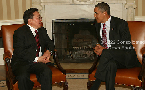 United States President Barack Obama meets with President Tsakhia Elbegdorj of Mongolia in the Oval Office of the White House on June 16, 2011. .Credit: Dennis Brack / Pool via CNP